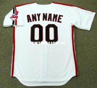 Wholesale Throwback CLEVELAND INDIANS s Retro jerseys Throwback Home quot Customized quot Men s embroidery baseball jersey