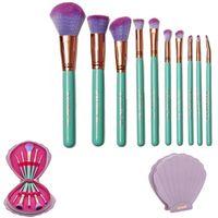 clam - 2016 Presale NEW Spectrum Brushes Mermaid Dreams Piece Vegan Brush Set Glam Clam Case Pink Color VS Hello kitty Brush
