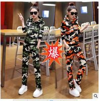 american basketball jackets - 2016 autumn new Korean fashion sportswear suit long sleeve hooded camouflage jacket and pants two piece casual cotton absorbent breathable