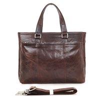 Wholesale Mens Genuine Leather Classic Business Shoulder Messenger Bag quot laptop Bag Macbookpro Chocolate Color