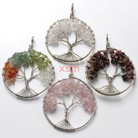beaded trees - Mode F main naturelle The tree of life mixture stone crushed pendant Jewelry