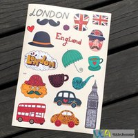 bicycle england - 5pcs A4 England London Scene Car Styling Waterproof Graffiti Doodle PVC Sticker Hellaflush Bicycle Laptop Skateboard Luggage Decal