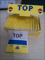 Wholesale TOP Fine Gummed Rolling Smoking Papers Yellow TOP Tobacco Paper Burning Herbs Cigarette Papers booklets Leaves Size mm mm