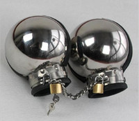 ball sex - New Luxury Male Female Stainless Steel Restraint Slave Wrist Restraint ball Handcuffs Manacle with chain manacle BDSM bondage sex toys