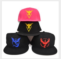 Wholesale Factory Price Hot Poke Go Baseball Hat Team Mystic InstInct Valor Blue Yellow Red Embroider Logo Caps Unisex Outdoor Snapbacks