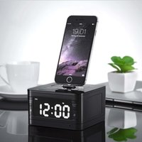 apple alarm clocks - Portable brand T7 Bluetooth Radio Alarm Clock Speaker System with LCD Screen Music Dock Charger Station Stereo Speaker for Pin iPhone ipod