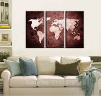 Cheap 100% Hand Painted 3 Piece sets Wall Art World Map Oil Painting Home Decoration Large Modern Landscape On Canvas For Living Room