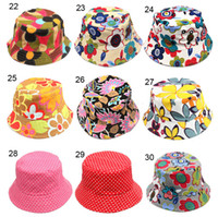 Unisex Spring / Autumn Visor Children Bucket Hats Kids Sun Hat 30 styles Floral baby sunhat kids Fishing Caps Baby Fisherman Hats Cartoon kids beach sun hats D496 200pcs