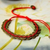 ancient chinese silk - Tibetan Style Fortune bringing Chinese Ancient Bronze Coins in Red Silk Threads Bracelet Ethnic Jewelry FREE SIZE