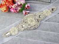 Wholesale Angel_Coco Original Handmade Bridal Sashes Belts Beaded White Luxury Rhinestone Wedding Sashes Elegant Graceful