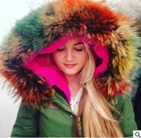 big pink delivery - 2015 New Women Winter Army Green Jacket Coats Thick Parkas Plus Size Big Real Raccoon Fur Collar Hooded Outwear Day Delivery