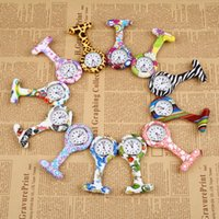 Wholesale Pocket Watches Silicone Zebra Stainless Clip Pin Nurse Fob Watch Quartz Brooch Pendant Hot Geometric Flowers Doctor Paramedic