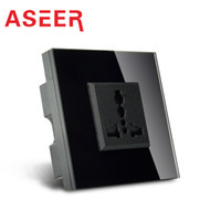 Wholesale Aseer Brand Dropshipping UK Standard Wall Power Socket High Quality Glass Panel AC110 V A Wall Outlet