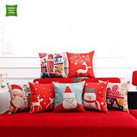 Wholesale Festive Red Christmas Design Snowman Santa Claus Elk Printed Cushion Cover Polyester Home Decor Pillow cm