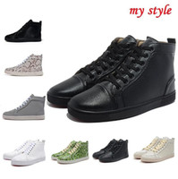 Wholesale Sizes France Luxury brand Genuine Leather women sneakers high top trainers red bottom casual shoes for men chaussures femmes hommes