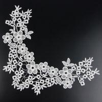 Wholesale 1 X Beautiful Off White Fabric Flower Neckline Collar Venise Lace Applique S10471