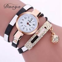 balls digital watches - 2016 New Luxury Watch Women Gold Ball Pendant Long Leather Bracelet Wristwatches Women Dress Vine Clock Lady Quartz Watch