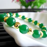 Wholesale Green natural agate bracelet K gold bracelets and Chu Road Transport gold jewelry
