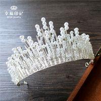 amazing handmade jewelry - Amazing handmade gourgeous pearl crysatl beads crown brial wedding hair jewelry luxury wedding accessories new style