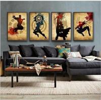 avengers framed art - The Avengers Superhero Retro Set ted Modern Abstract Oil Painting Canvas Art