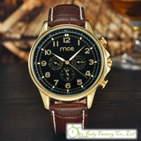 analog suit - Luxury MCE Brown Leather Men Watch Date Day Function Mechanical Watch Suit Watches