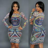 ankle bandages - Fashion Newest Ms Sexy Nightclub Dress Traditional African Printed Dashiki Bodycon Dress Long Sleeve Round collar Tattoo bandage Dress WMZ