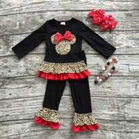 baby grains - 2016 new arrival FALL OUTFITS baby kids Leopard grain minnie top black ruffle pant sets girls boutique with necklace and bow