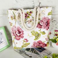 Wholesale Women Ladies Fashion Flower Stripes Cartoon Face Printing Canvas Shoulder Bag New Hot Messenger Bag Summer Beach Handbag Bags XN06