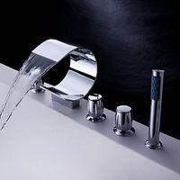 Wholesale AZOS Bathtub Faucets Chrome Polished Deck Mount Hot Cold Mixer Sprayer Showerheads Handles Diverter Valves YGWJ011