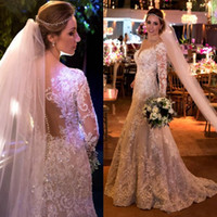 Wholesale sexy wedding dresses - Vintage Mermaid Lace Wedding Dresses With Appliques Sequins Long Sleeves Wedding Gowns Sweep Train Sheer Back Covered Buttons Bridal Dress