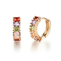 accent earrings - Elegant k Gold Plated Golden Tone Diamond Accent Multi color Cubic Zirconia Hoop Earrings for Women Charm Wedding Jewelry