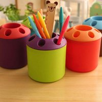 Wholesale New fashion Porous Desktop Pen holder multifunction Pen Containers practical leisure furniture items Toothbrush Organizer