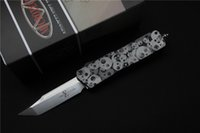 auto e - high quality Microtech custom Scarab Auto Knife blade D2 satin T E handle Aluminum CNC quot black Outdoor tools gift