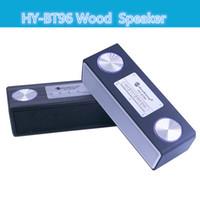 Wholesale HY BT96 Wood Portable full hifi range Bluetooth Speaker Music Wireless stereo vibration HandsFree TF Daul Speaker subwoofer