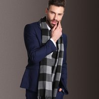 Wholesale Men s scarf double sided plaid scarves fight autumn and winter tide color scarf long scarf
