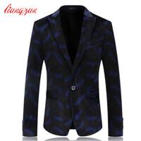 Wholesale Men Blazer Jakcet Costume High Quality Brand Casual Business Blazer Suit Autumn Winter Korean Velvet Wedding Suit Jacket F2220