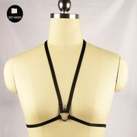 Wholesale New sexy Goth Lingerie Elastic Body Harness cage bra s Heart cupless Bondage lingerie Bondage Body harness belt cage bra
