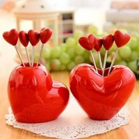 best fruit snacks - Red Heart Fruit Snack Stainless Steel Fork Set Kitchen Gadget Good Helper Your Best Choice