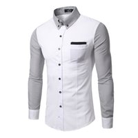 arm business - New men Slim long sleeved clothing arm stripes stitching T shirt business shirt fashion Casual shirts