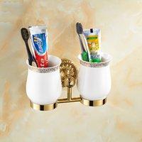 antique bath hardware - Batroom golden chrome antique double cup holder bathroom double cup rack holder hardware bath sets bathroom accessories