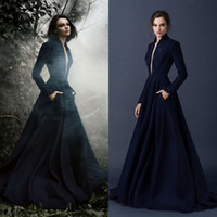 Wholesale 2016 paolo sebastian gowns long sleeve evening dresses with pockets plunging v neck a line court train embroidery navy blue satin vestidos