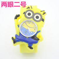 aliens kid - Christmas Gift Hot Yellow Robot Aliens Gru Mixture Character Kids Boys Silicone Slap Watches Rubber Band Snap Bracelet Wristwatch New