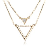alloy composition - Factory hot sale K Gold Plated Personality Tide Natural Turquoise Stone Geometric Composition Triangle Pendant Necklace
