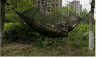 army camo netting - 240 cm x130cm Portable Outdoor Garden Army Green Camo High Strength Parachute Fabri Camping Mosquito Hammock with Mosquito Nets