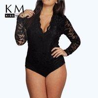 Wholesale Kissmilk Plus Size Summer Women New Sexy V Neck Long Romper Big Large Size Lace Patchwork Jumpsuit XL XL XL XL