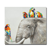 beautiful wild animals - top quality wild animal elephant canvas wall art painting hand drawing beautiful wall hanging picture