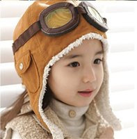 Wholesale High quality Fashion Style New Cute Baby Toddler Boy Girl Kids Pilot Aviator Cap Warm Hats Earflap Beanie Melee ZD118A