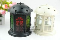 Wholesale Wedding gift Weddings candle holders lantern metal candle holder iron lantern with stand House or shop decoration white