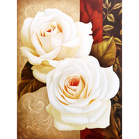 antique rose paintings - HWC Full drill Diy Diamond Painting home decor cross stitch diamond embroidery White Rose modern room poster X45CM