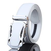 automatic sports cars - Men s White Belt With Automatic Ratchet Belt Sports Car Model Design mm